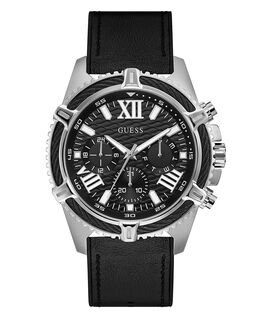 Silver Tone Case Black Genuine leather/Silicone Watch  large
