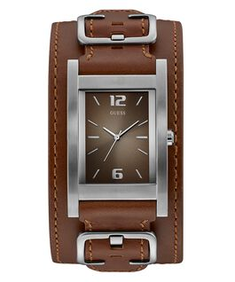 Gents Silver Tone Case Brown Genuine Leather Watch  large