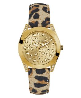 Gold Tone Case Animal Print Genuine Leather Watch  large