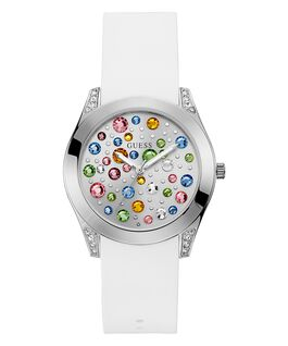 Silver Tone Case White Silicone Watch  large