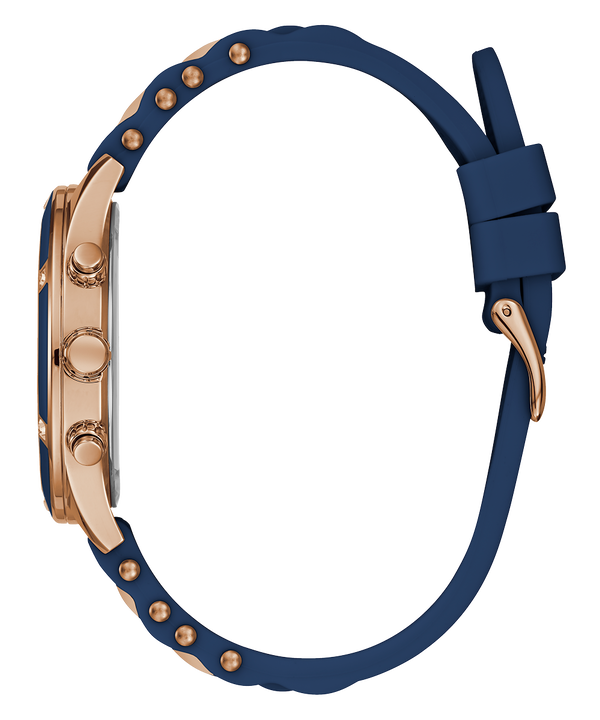 Rose Gold Tone/Blue Case Blue & Rose Gold Silicone Watch  large