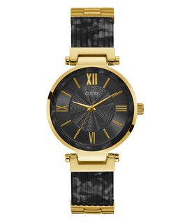 Gold Tone Case Black Resin Watch  large