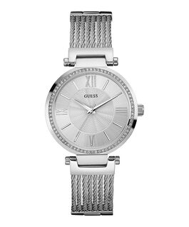 Silver Tone Case Silver Tone Stainless Steel/Mesh Watch  large