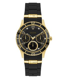 Gold Tone Case Black Silicone Watch  large